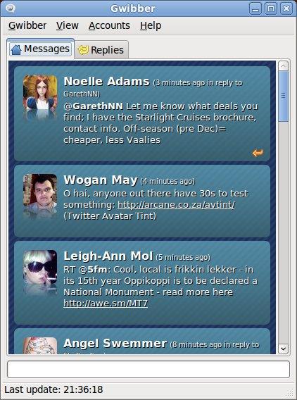 Gwibber Micro Blogging Screenshot