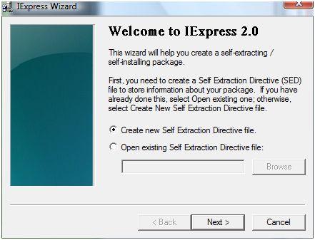 IExpress Screenshot