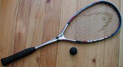 Squash racquet and ball
