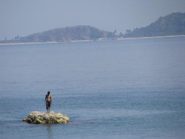 lonely man on island