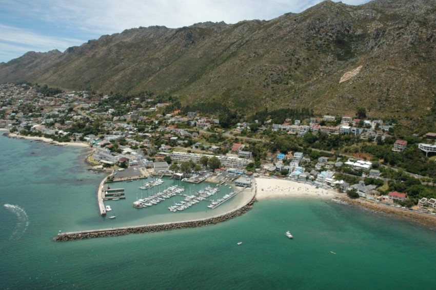 aerial view of gordon's bay harbour south africa
