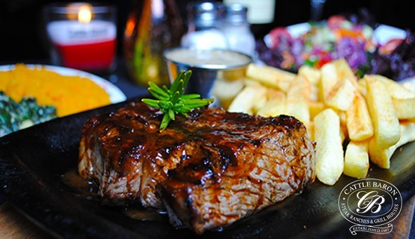 cattle baron steak and chips