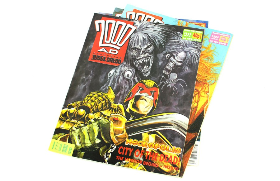 stack of old 2000ad comic magazines