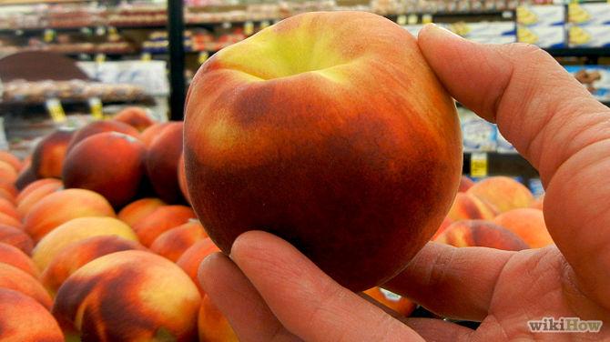picking up a peach