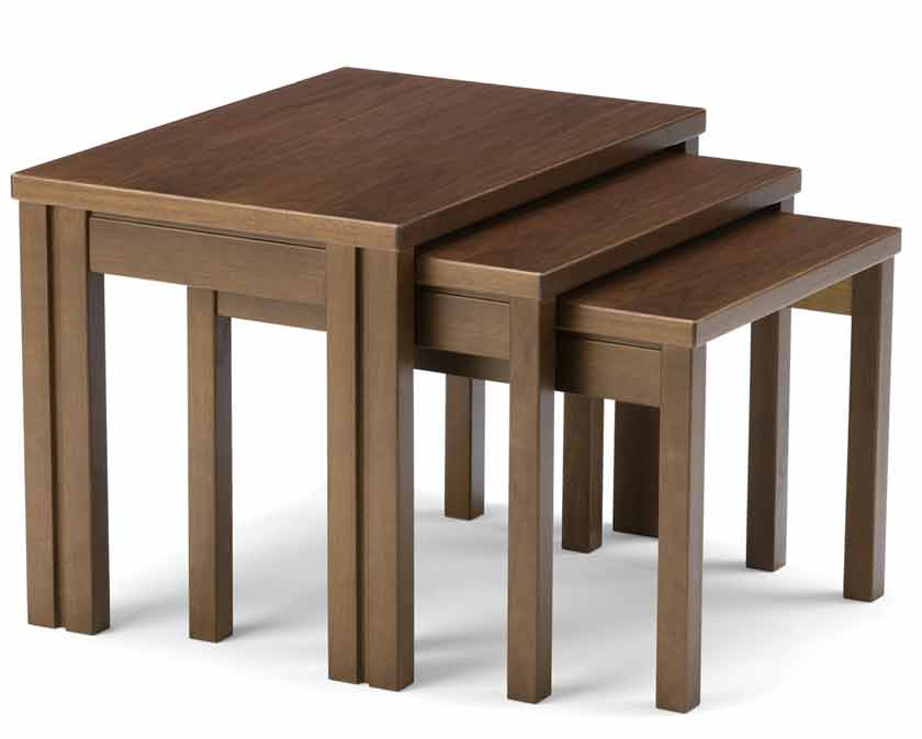 a nest of wooden tables