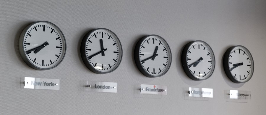 wall clocks for different time zones
