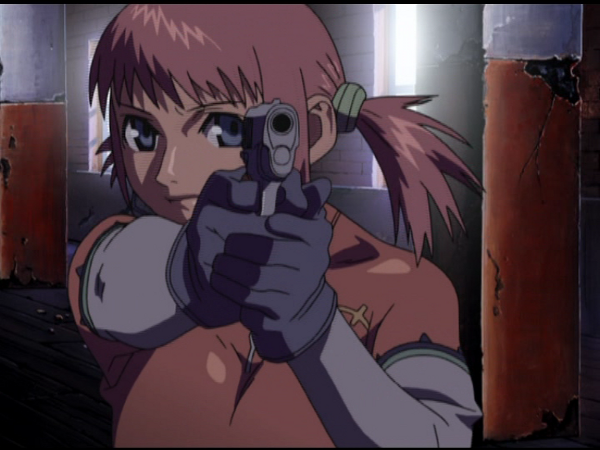 Mikura taking aim with her Colt...