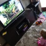 Jessica watching Shaun the Sheep