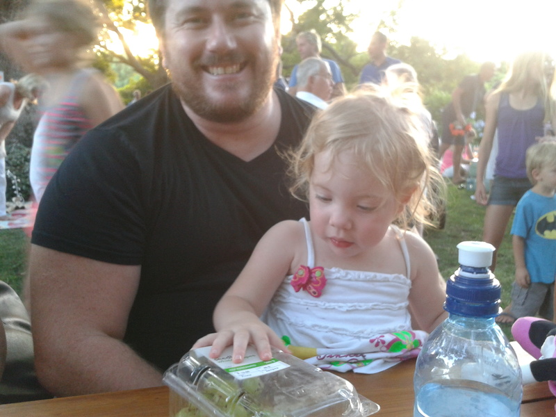 craig lotter and toddler jessica lotter at hathersage farm night market