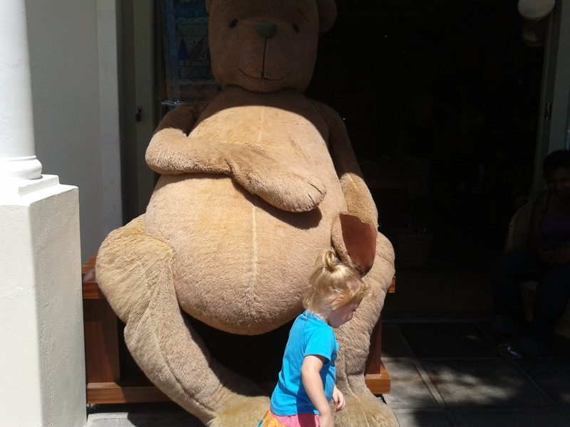 jessica lotter and the gian teddy bear in franschhoek