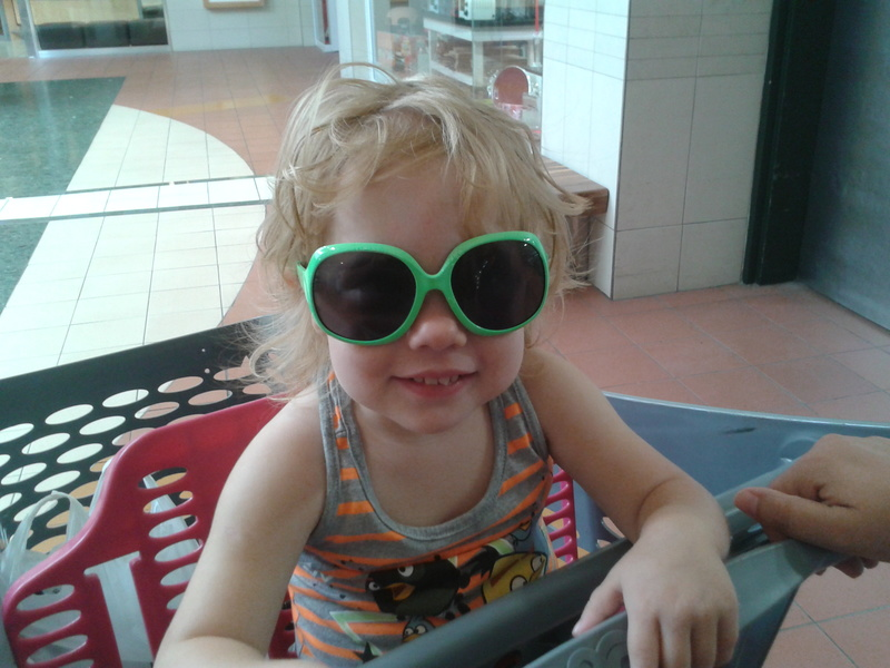 jessica lotter wearing her first pair of sunglasses
