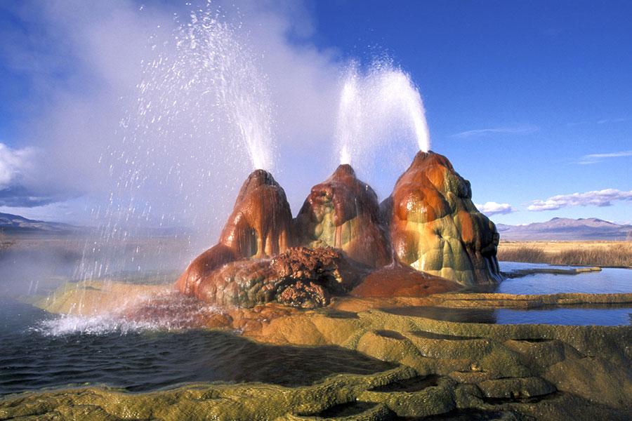fly geyser in nevada's black rock desert
