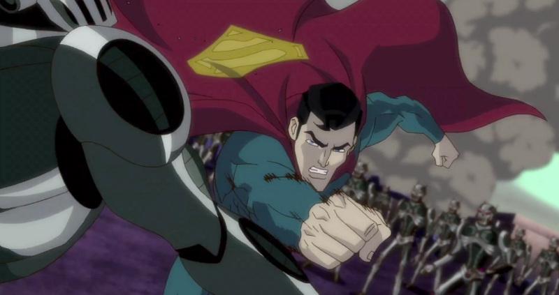 superman unbound - superman pounding robot