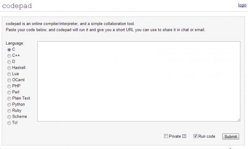 codepad org screenshot