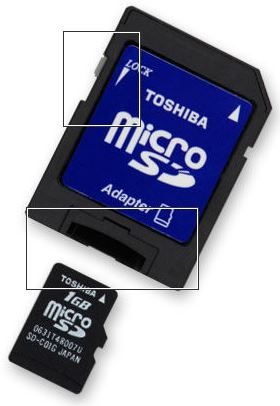 lock switch on a microSD adaptor casing