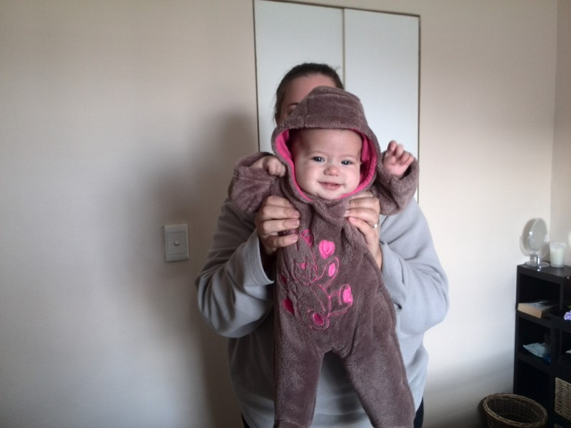 baby emily lotter in her teddy bear suit
