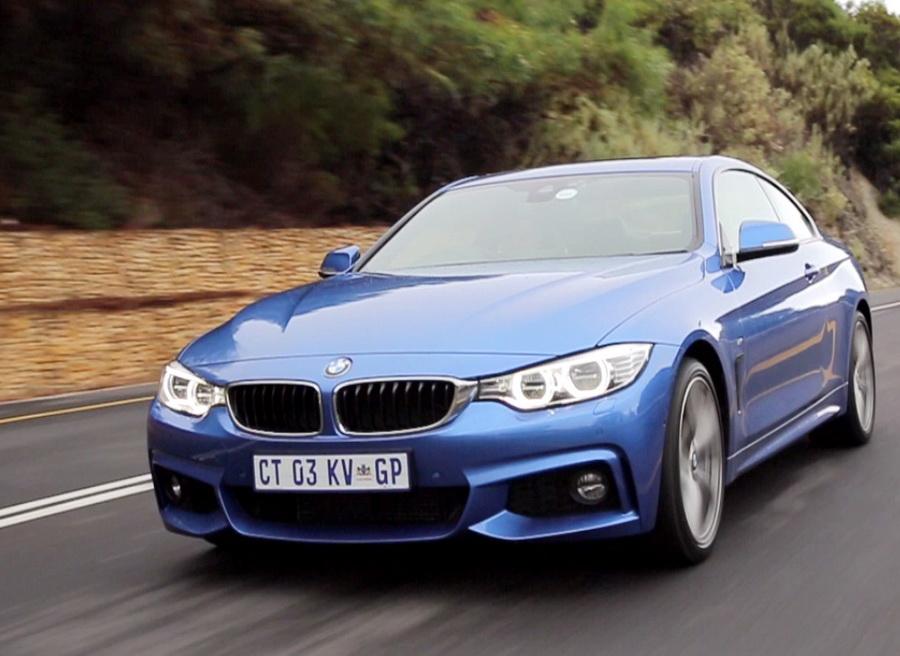 blue BMW 435i car
