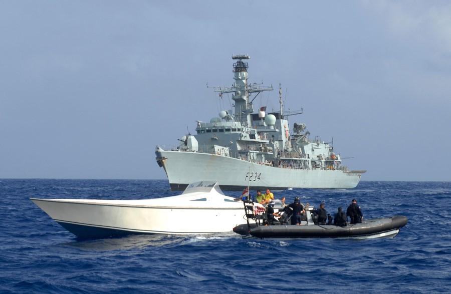 HMS Iron Duke Seaboat Boards Drugs Vessel