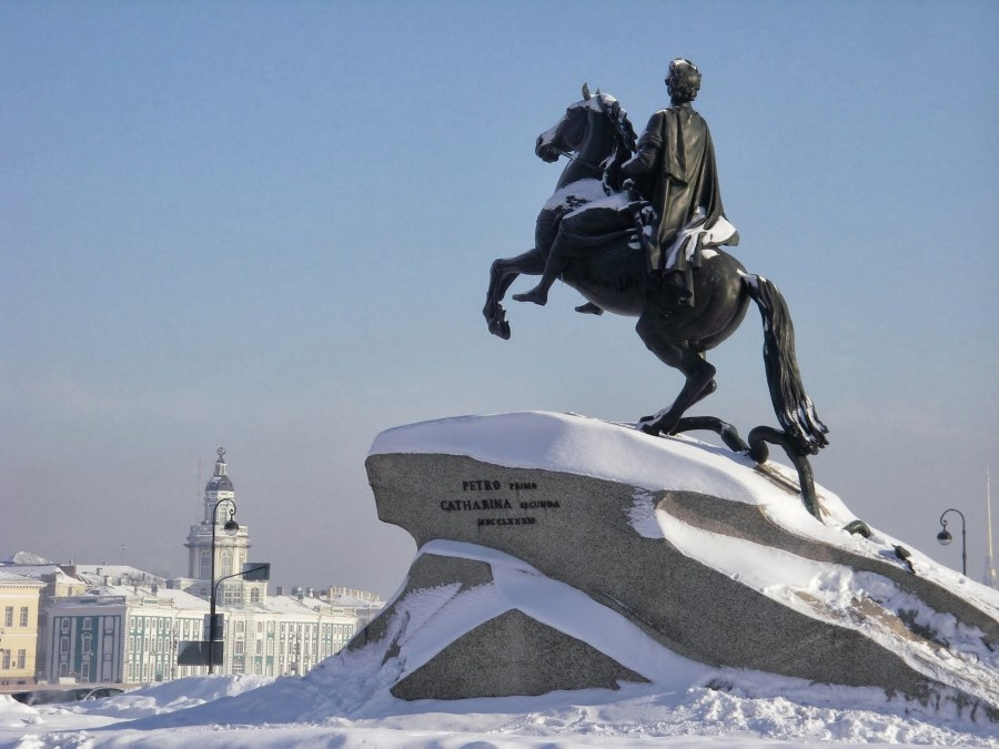 catherine the great's the bronze horseman statue with its thunder stone in st petersburg russia 2