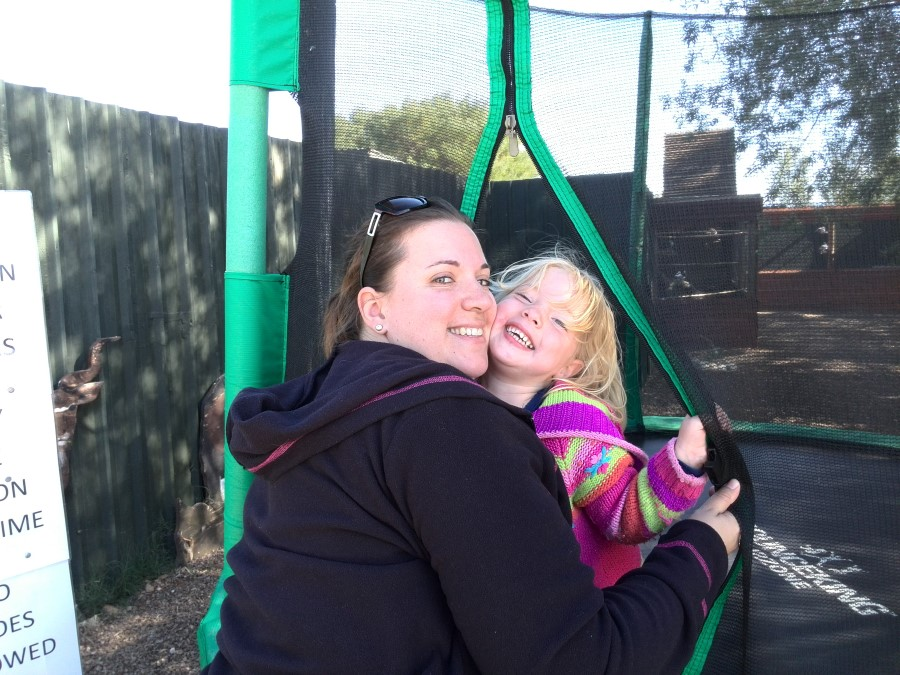 chantelle lotter hugging jessica on a trampoline