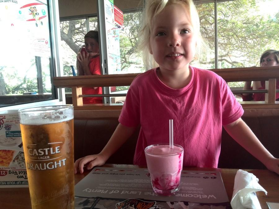 jessica lotter drinking a spur pink milkshake