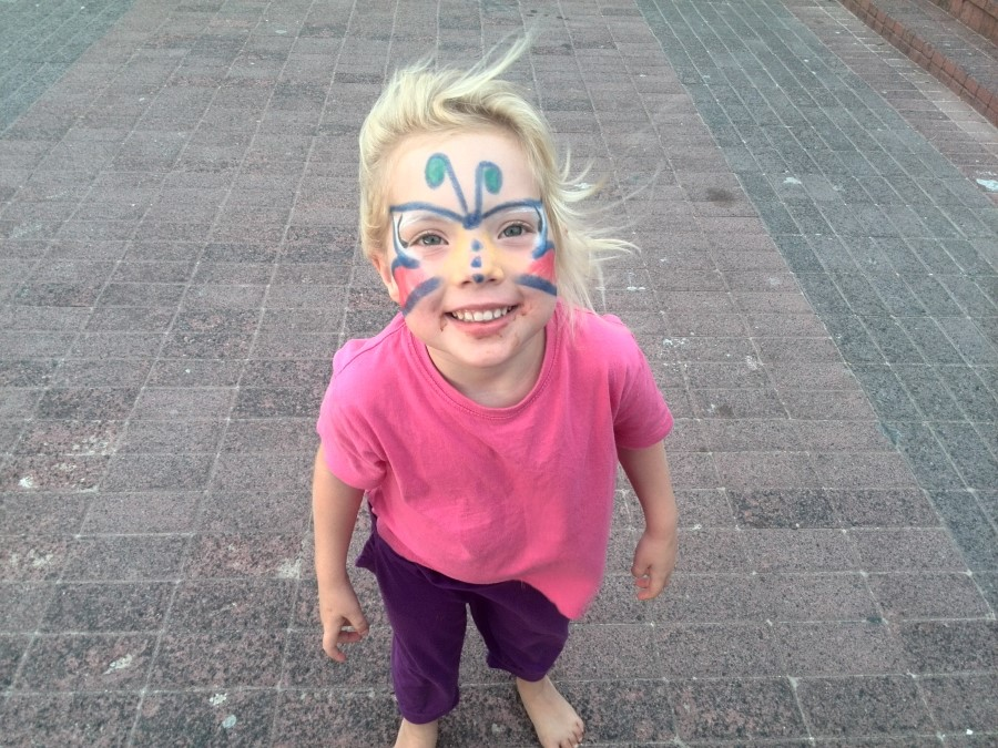 jessica lotter with face painted like a buttefly, courtesy of spur