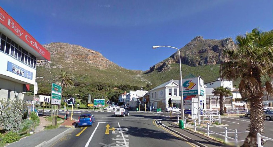 view from muizenberg railroad bridge next to false bay college