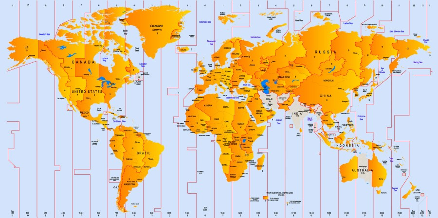 world map showing time zones