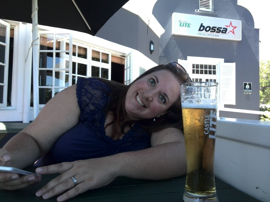 IMG_20150217_143032 a beer and a smug smiling chantelle lotter at Bossa