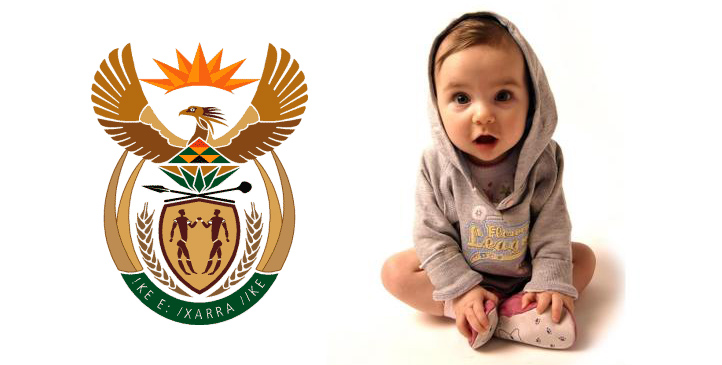 baby-on-white-background-with-republic-of-south-africa-coat-of-arms