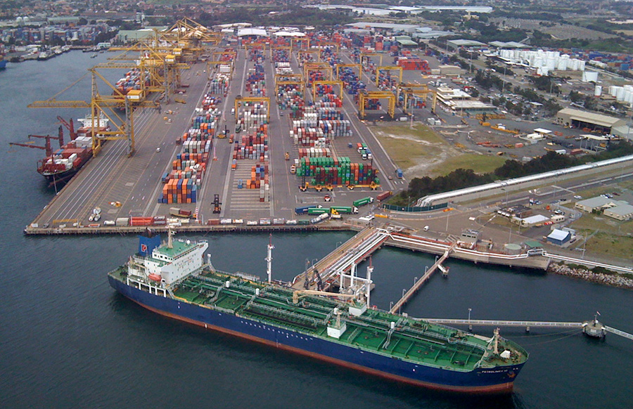 container ship docked at sydney container port