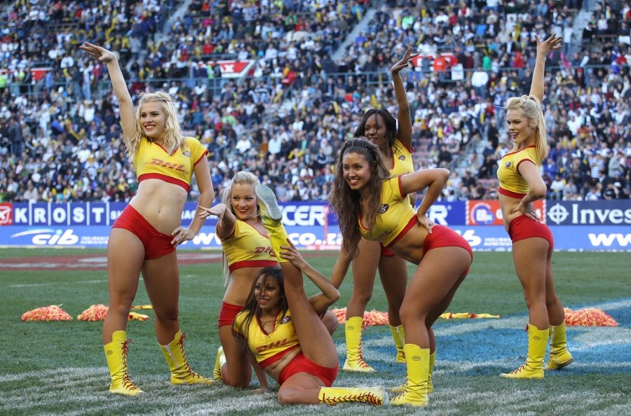 super rugby dhl stormers cheerleader girls in red hotpants at newlands rugby stadium 2
