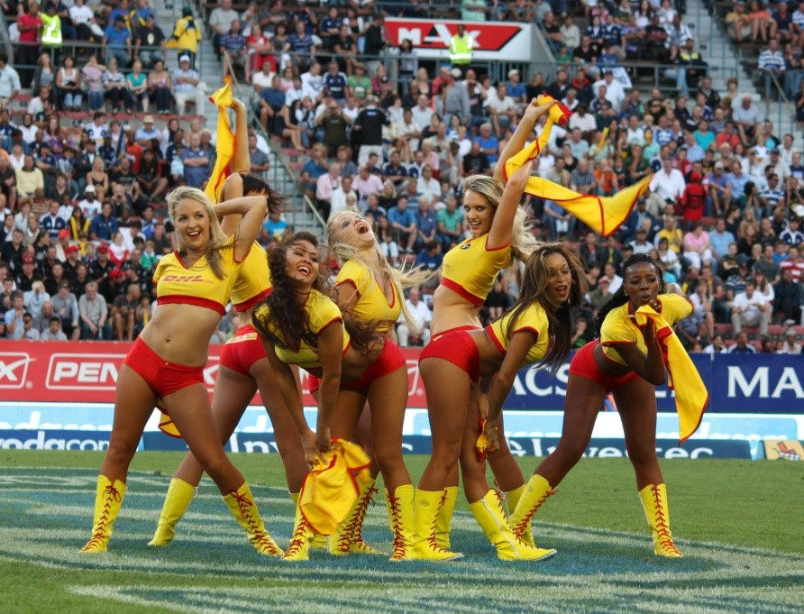 super rugby dhl stormers cheerleader girls in red hotpants at newlands rugby stadium 3