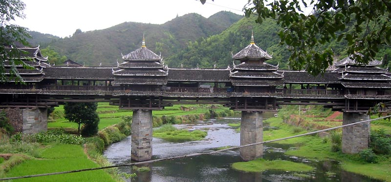 China Sanjiang Province Chengyang Wind and Rain Bridge built by the Dong people 1
