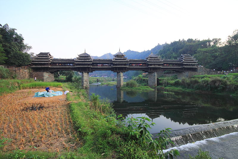 China Sanjiang Province Chengyang Wind and Rain Bridge built by the Dong people 2