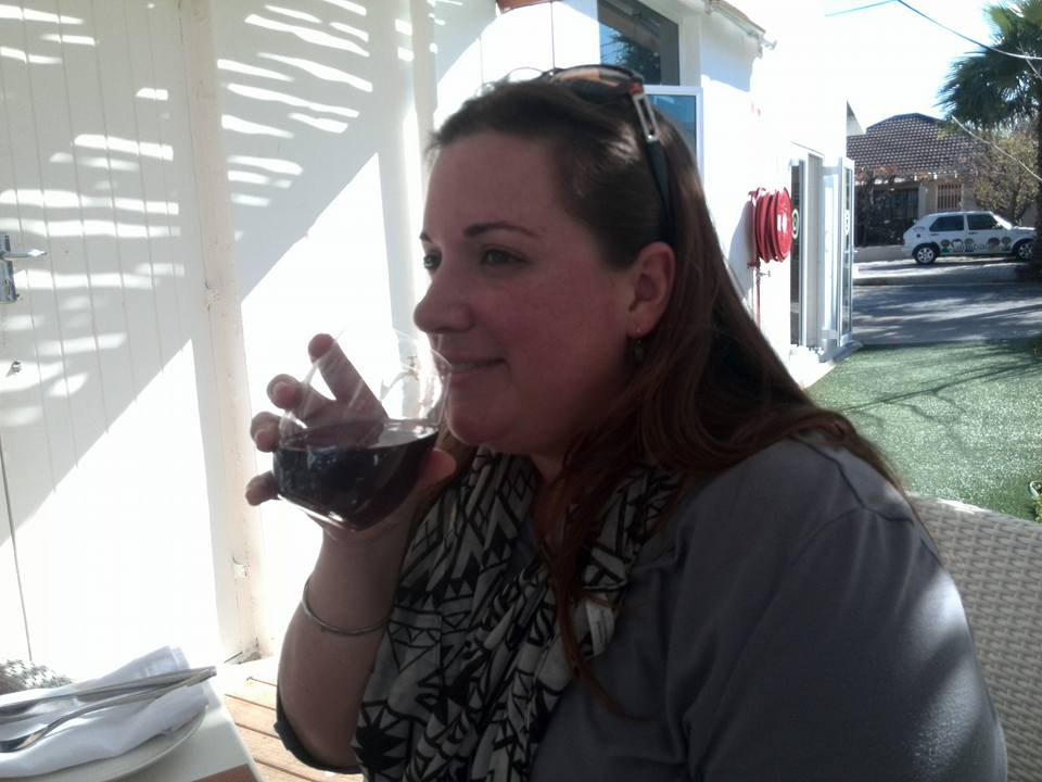 chantelle lotter sipping her grapetizer at imibala restaurant in bright street, somerset west