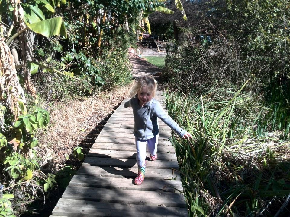 IMG_20150810_124207 jessica on the bridge at the kids play area at helderberg farm on the R44