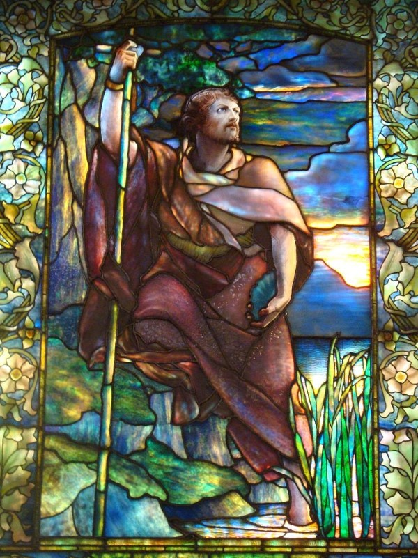 stained glass window created by Louis Comfort Tiffany in Arlington Street Church (Boston) depicting John the Baptist