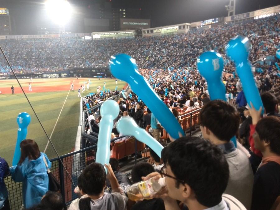 IMG_20141002_200708 sperm shaped balloons at yokohama stadium baseball game