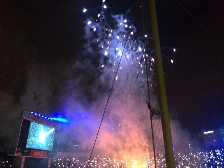 IMG_20141002_213850 fireworks at yokohama stadium for the end of the baseball season
