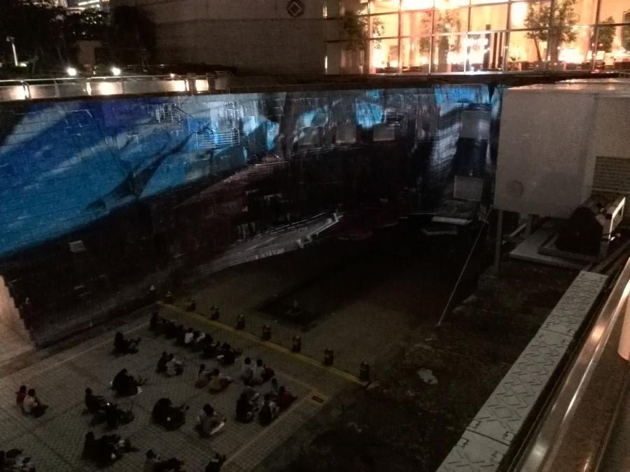 IMG_20141003_190445 yokohama odyssey projection mapping show, dockyard garden