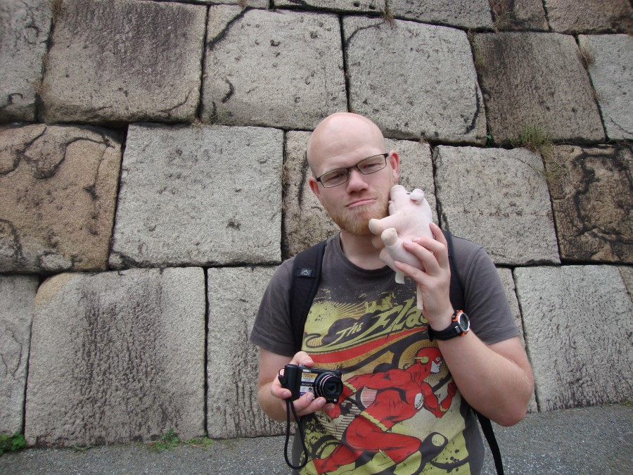 DSC07425 ryan lotter and his pig in the imperial palace east garden, chiyoda, tokyo, japan