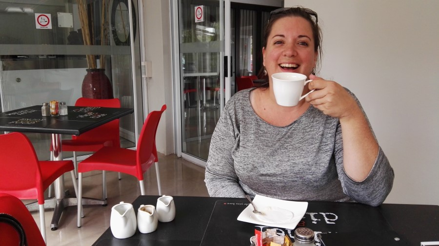 IMG_20160322_102614 chantelle lotter drinking coffee at the green fountain restaurant in strand