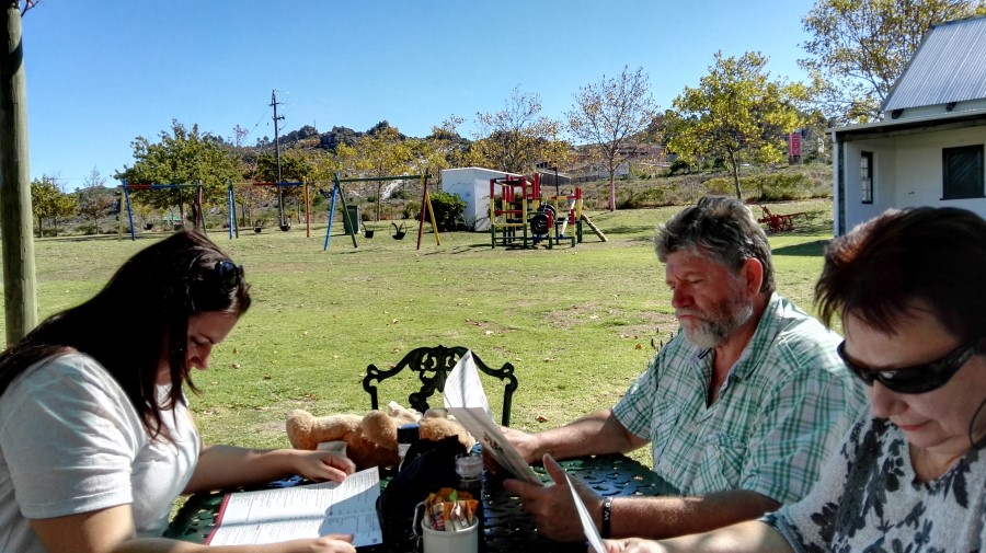 IMG_20160417_141929 montgomery clan eating outside at the orchard farm stall and restaurant in grabouw