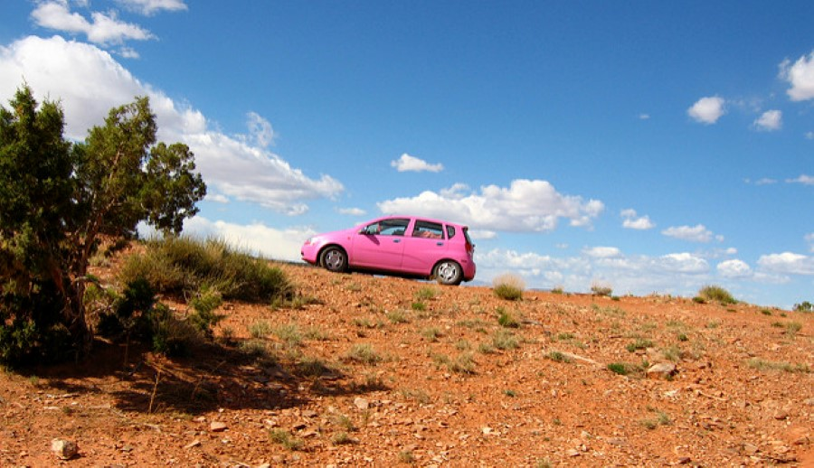 pink car in the desert