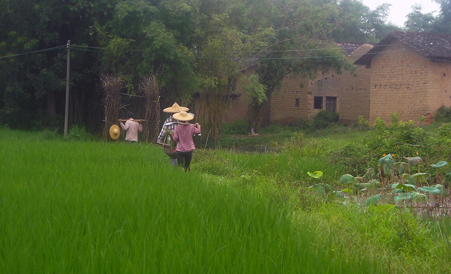villagers and mud houses in china