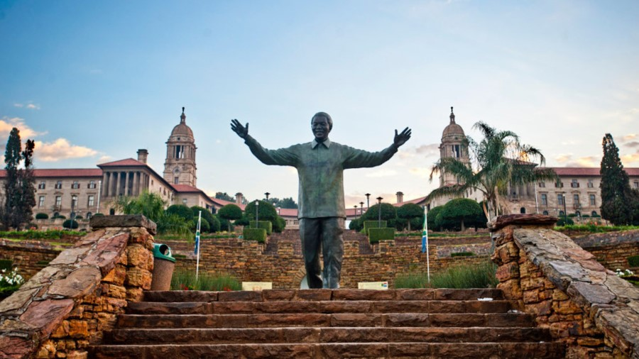 nelson mandela statue in front of the union buildings in pretoria, south africa