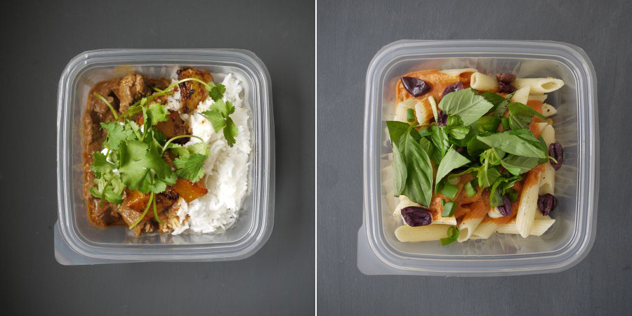 the flying pan meals - penne and curry