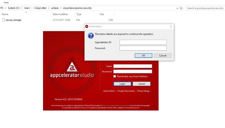 Solved: Appcelerator Studio keeps Prompting for Login Details | An